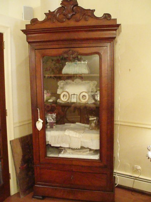 19th Century English Armoire with Glass Door and key (Mahogany)